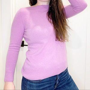 Talbots 100% Cashmere Lavender Boat Neck Sweater
